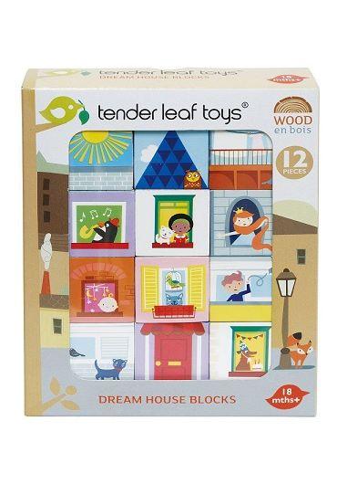 Puzzle educativ - Cuburi Casa Visurilor, din lemn, 12 piese - Dream House Blocks
