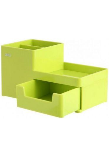 Suport birou 3 compartimente+sertar verde