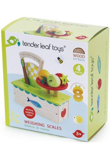Jucarie - Cantar din lemn, 4 piese - Weighing Scale