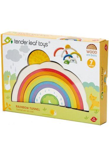 Puzzle educativ - Tunelul curcubeu, din lemn, 7 piese - Rainbow Tunnel
