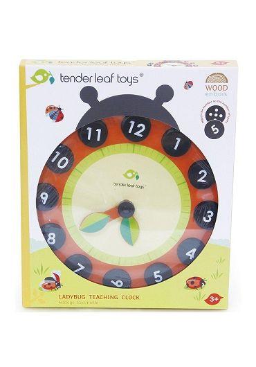 Jucarie - Ceas educativ Buburuza, din lemn - LadyBug Teaching Clock