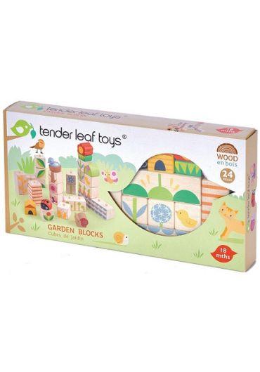 Puzzle educativ - Cuburi stivuibile cu ilustratii din gradina, din lemn, 24 piese - Garden Blocks