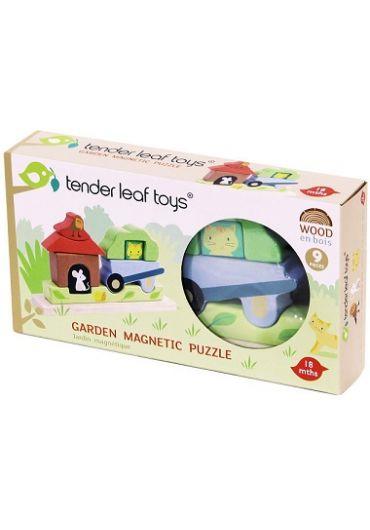 Puzzle educativ - Puzzle magnetic Gradina, din lemn 3D, 9 piese - Garden Magnetic Puzzle
