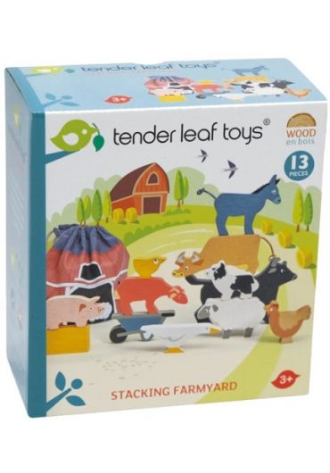 Jucarie - Animale domestice, din lemn, 13 piese - Stacking Farmyard