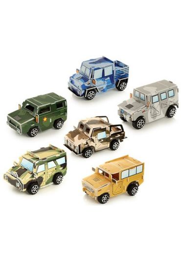 Jucarie puzzle - DIY Puzzle Camouflage Car Pull Back Action Toy