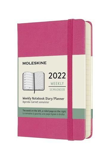 Agenda - 12 Month Weekly Notebook Pocket Planner 2022 - Pink Bouganvilla