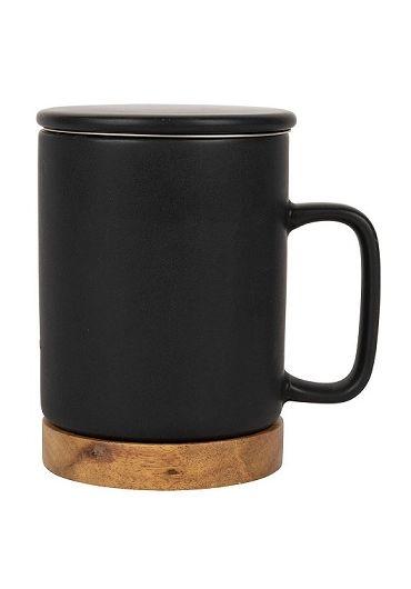 Cana ceramica cu infuzor si capac - Nordika Black Matt