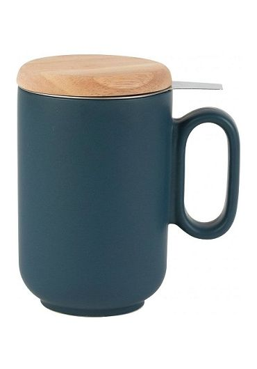 Cana ceramica cu infuzor si capac - Baltika Blue Matt