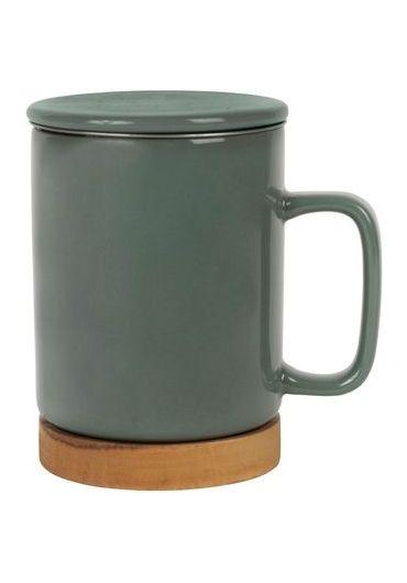 Cana ceramica cu infuzor si capac - Nordika Kaki