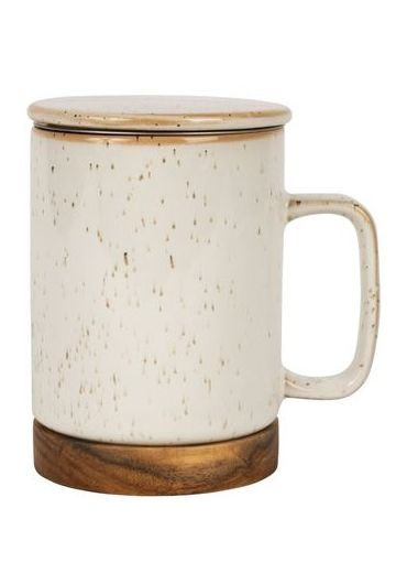 Cana ceramica cu infuzor si capac - Nordika White