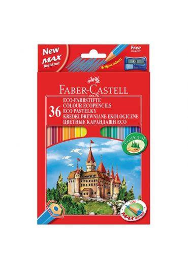 Creioane colorate 36 culori + ascutitoare eco Faber Castell