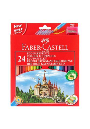 Creioane colorate 24 culori + ascutitoare eco Faber Castell