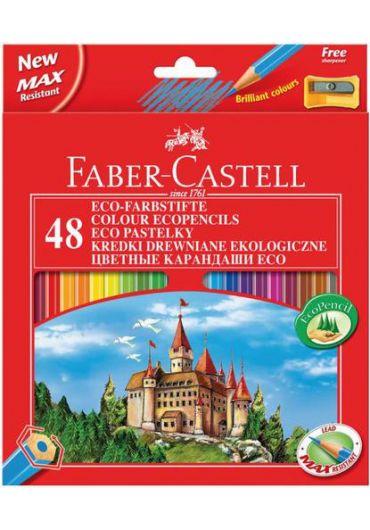 Creioane colorate 48 culori + ascutitoare Faber Castell