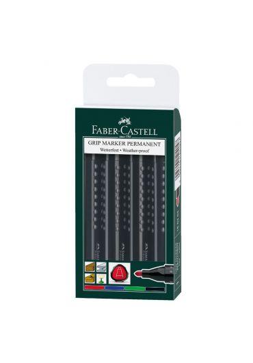 Marker permanent 4 set grip Faber Castell