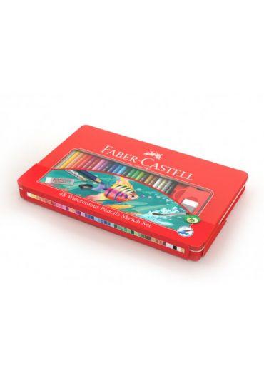 Creioane colorate 48 culori + 4 accesorii cutie metal