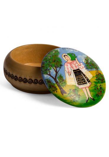Cutie rotunda din lemn - tarancuta cu ulciorul