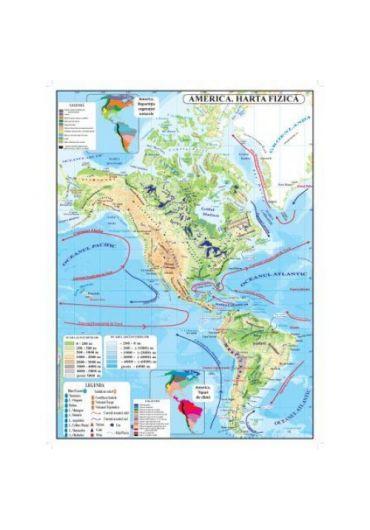 Harta fizica + politica America plastifiata A3