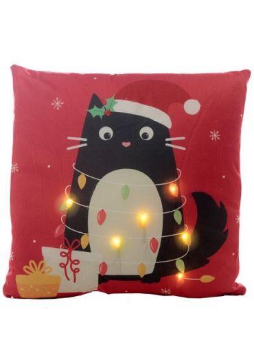 Perna decorativa cu luminite Led - Festive Feline Cat Xmas